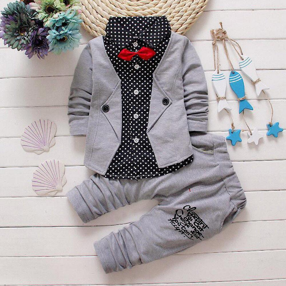 f59e6ff7bec57 Kid Baby Boy Gentry Clothes Set Formal Party Christening Wedding Tuxedo Bow  Suit Long sleeve gentleman floral small suit #YL5