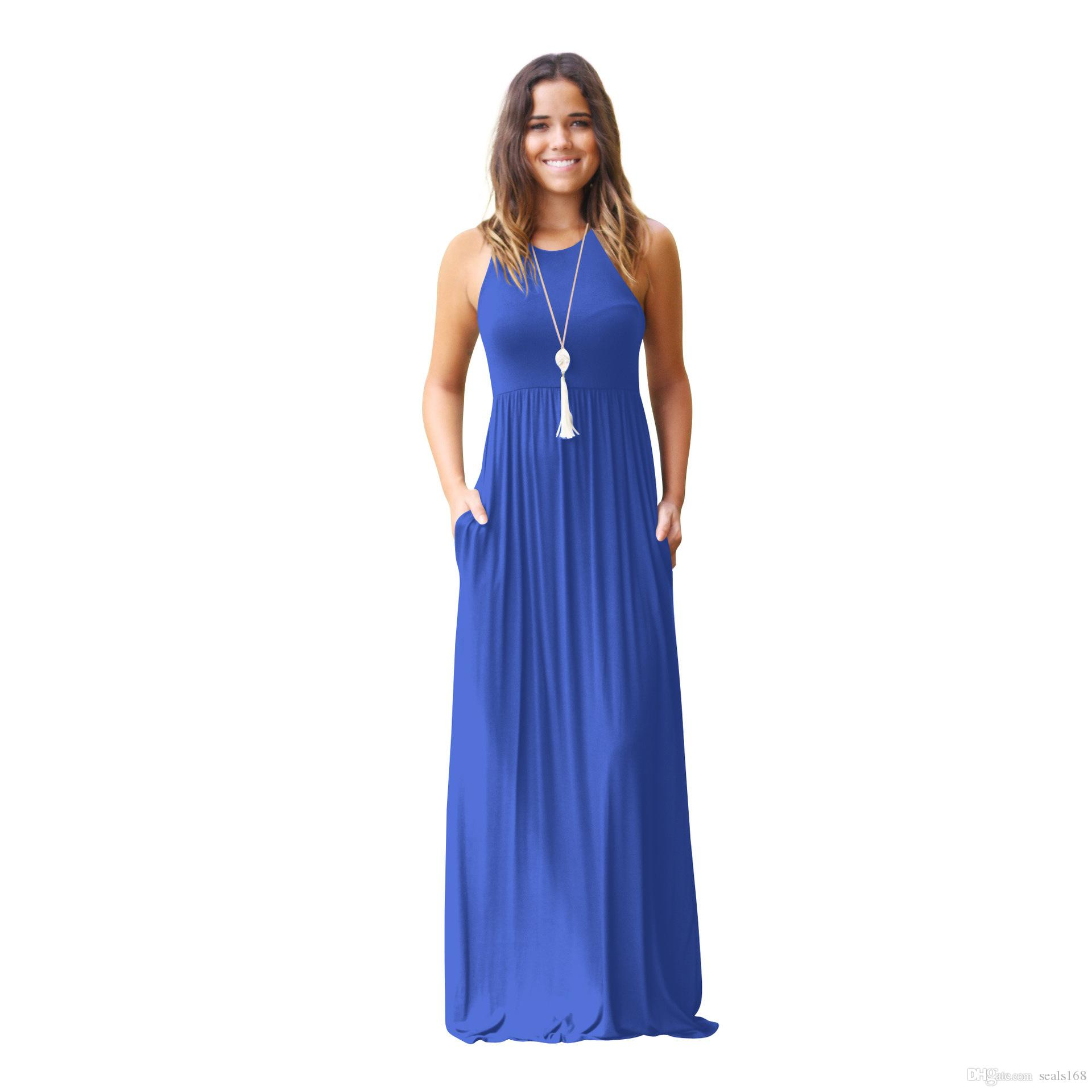 Women Maxi Dresses Sleeveless Loose Plain Dresses Casual Long Dresses With Pockets Beach Dress Home Plus Size Clothing S-2XL HH7-1144