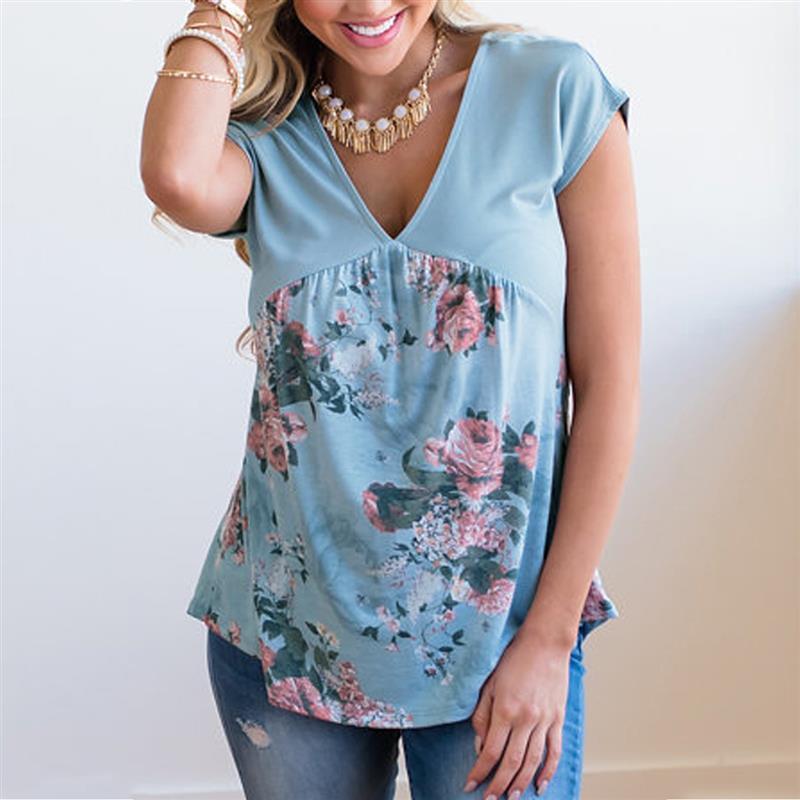 7febebc2c5e6 Свободный размер Женская футболка Летняя повседневная рубашка Элегантный ...
