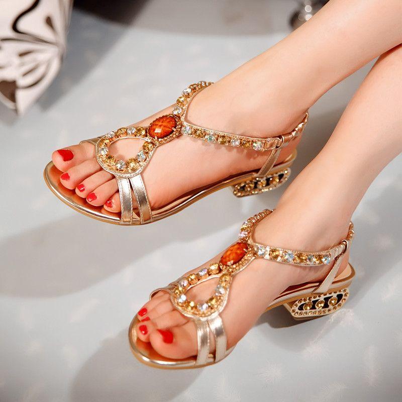 New Woman Sandals Genuine Leather Women Shoes Rhinestones Thong ... e473a0f277cf