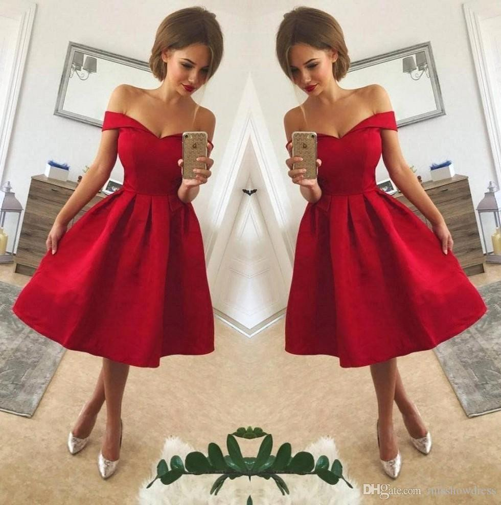 50ec43abffaa 2018 Red Off The Shoulder Satin A Line Short Homecoming Dresses Ruched Knee  Length Short Party Cocktail Prom Dresses BA9793 Gordmans Homecoming Dresses  ...