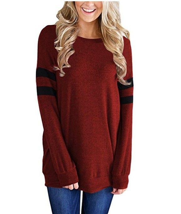 8b5d9027bf31 2018 modelos de explosión de otoño e invierno nuevo color de manga larga a  juego cuello redondo camiseta suéter ropa de mujer
