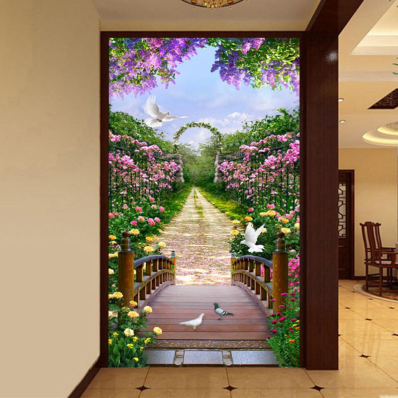 Wholesale-Custom 3D Photo Wallpaper European Style Rose Flower Small Road  Scenery Entrance Hall Background Decor Wall Painting Wall Mural