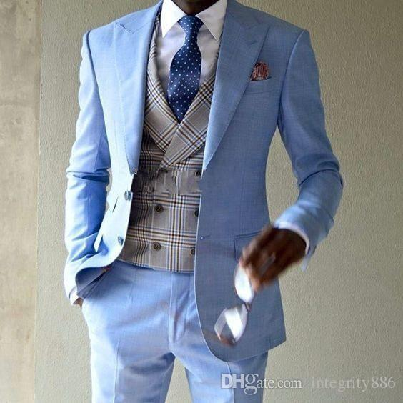 f7f774c634f3 Brand New Light Blue Men 3 Piece Suit Wedding Tuxedos Groom Tuxedos Peak  Lapel Two Button Men Business Prom Blazer(Jacket+Pants+Tie+Vest)623. 1  Transactions