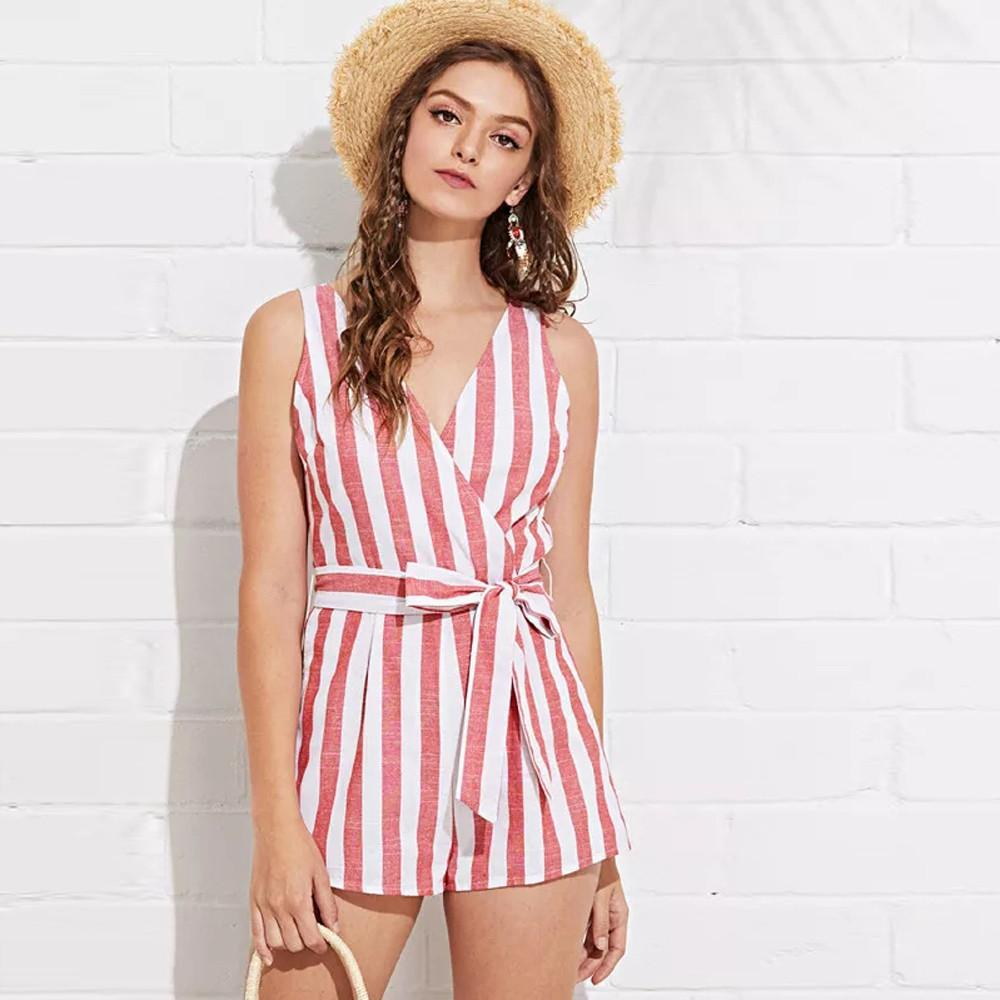 d0466c03 Jumpsuit Short Summer Tops For Women 2018 Cotton Casual Sleeveless Striped  Jumpsuit Ropa De Verano Para Mujeres