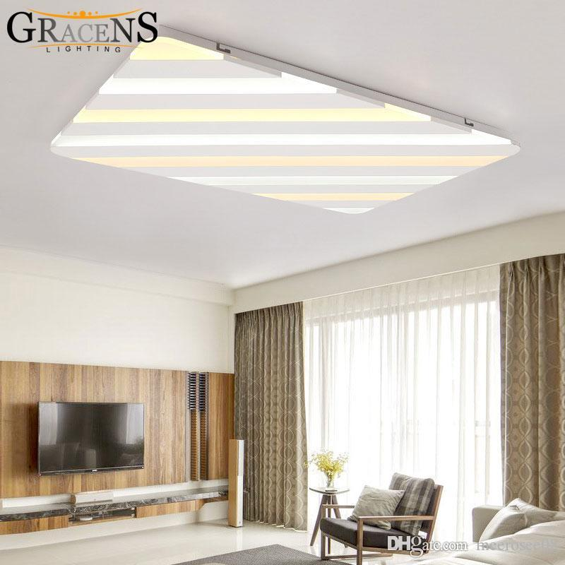 Rectangle Modern LED Ceiling Light For Living Dining Room Alternative Color Lamp Lustre Luminaires Lighting Chandelier