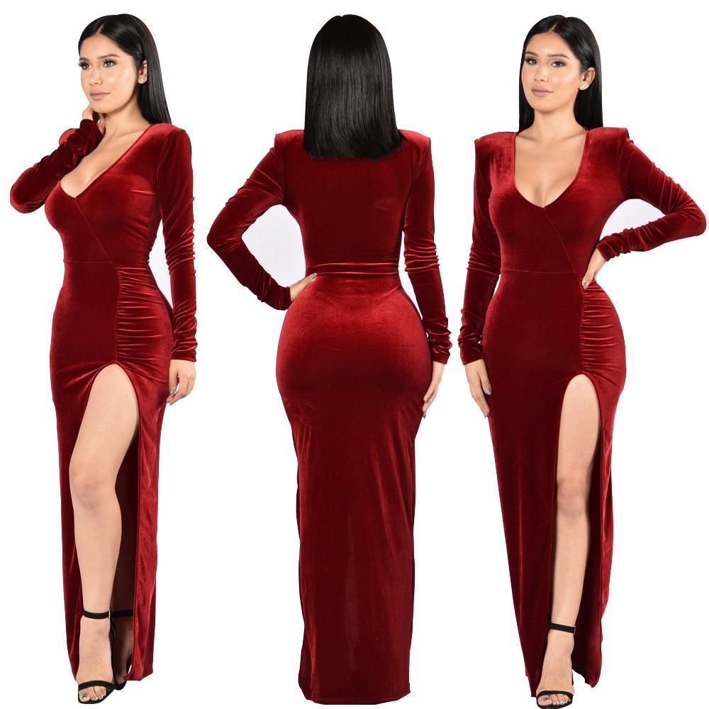 5c1f99432276 Hot Velvet Autumn Long Dress Christmas Women Costumes Evening Party Dress  Long High Vents Plus Size Casual Sexy Dresses