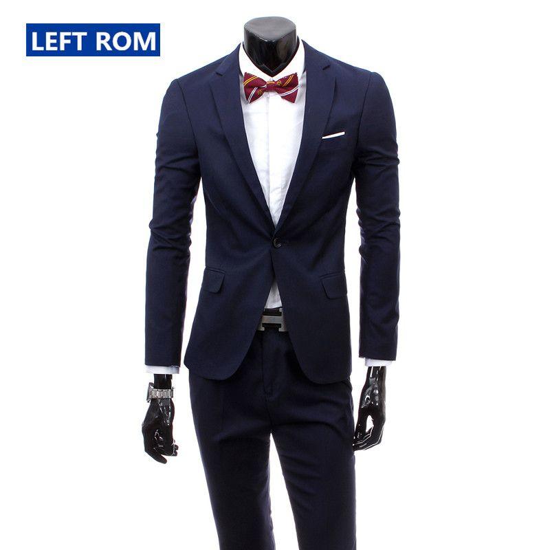 56afc2f55 (Chaqueta + Pantalones) 2018 nuevos hombres Boutique de moda de color puro  de alto grado de la marca de trajes de boda trajes Blazer Slim Business Men  ...