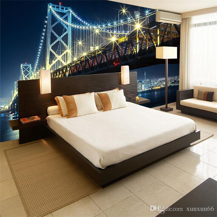 Custom 3D Wall Mural Wallpaper City Bridge At Night Living Room Bedroom Sofa TV Backdrop Wallpaper Home Decoration Wall Art