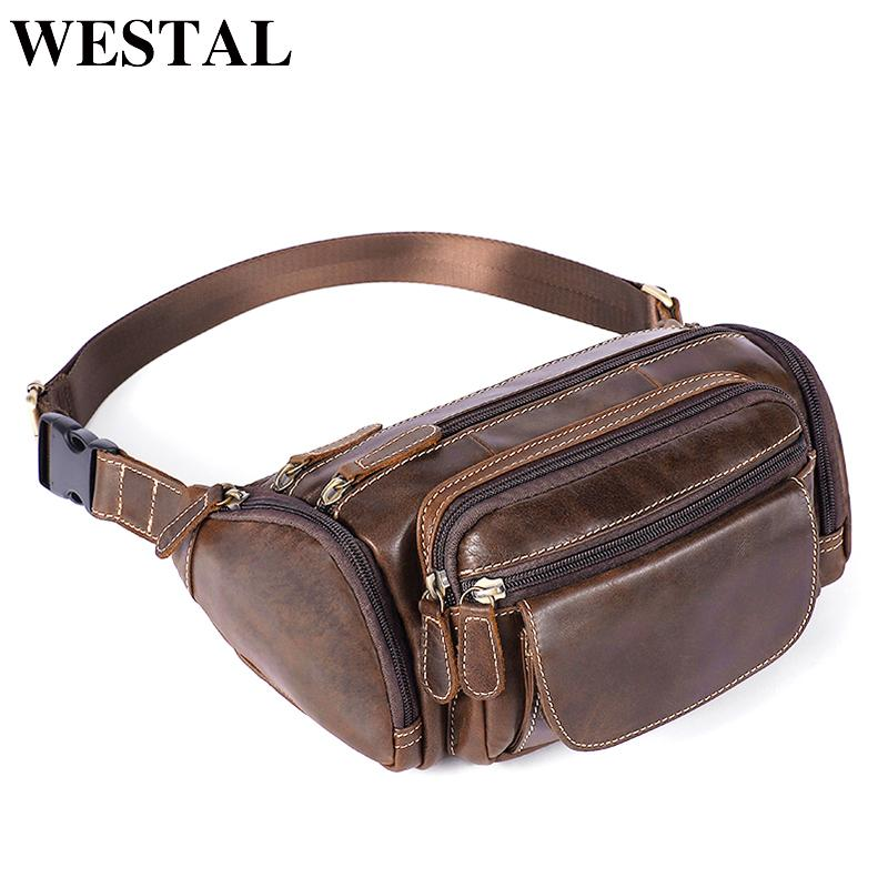 34888611e365 WESTAL Genuine Leather Travel Waist Pack Fanny Pack Men Leather Belt ...