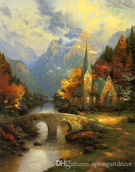 Discount Mountain Paradise Thomas Kinkade Oil Paintings Reproduction ...