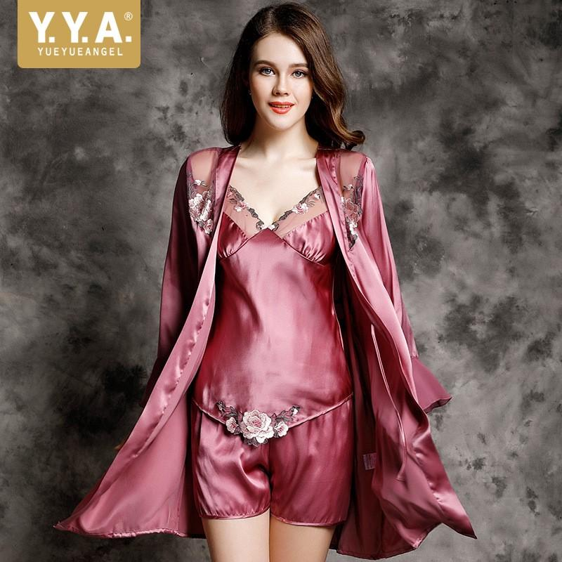 472afb605 2019 High Quality Luxury Nighty Sets Fashion Silk Satin Nightgowns Robe  Sets Sexy V Neck Embroidery Pajama Homewear Suit Three Piece From  Chencloth66