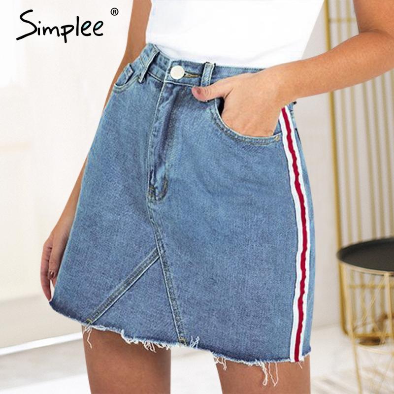 Compre Simplee Sexy Falda Jeans De Cintura Alta Mujeres Lado Rayado Falda  Lápiz Mini Falda 2018 Streetwear Elegante De Mezclilla De Verano A  34.97  Del ... 2ae50d50047c