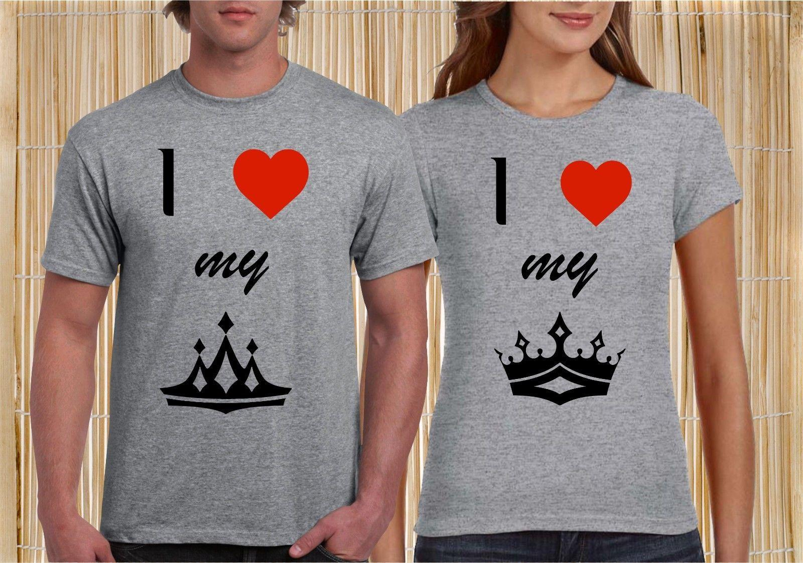 20b17860c0 Details Zu King Queen Love Couple Matching T Shirt Valentine Christmas  Husband Wife Gifts Funny Unisex Tee Designer T Shirt Coolest T Shirts From  ...