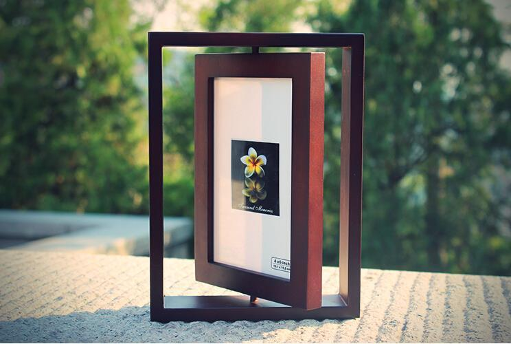 2019 2016 European Catalpa Wood Rotating Picture Frame Two Sided