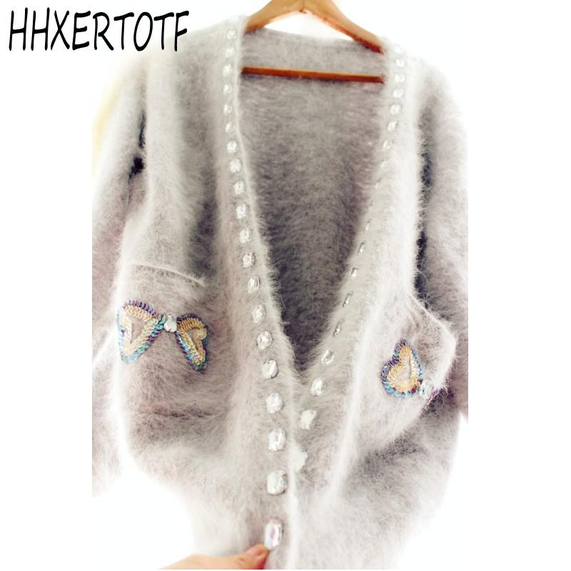 2018 New arrival high quality autumn and winter Gemstone Bow sequins Mohair christmas sweater Long Loose cardigan coat