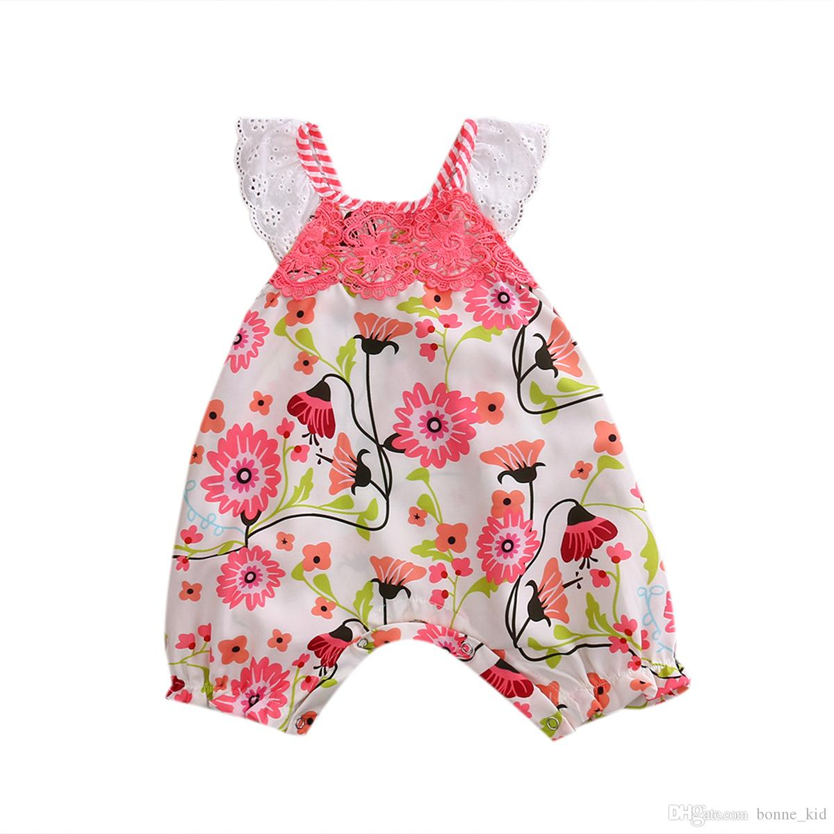 7a8db4c8f8c 2019 Sweet Summer Baby Girl Lace Flower Pink Jumpsuit Flying Sleevele  Floral Romper Onesies Baby Outfit Bodysuit Sunsuit Kid Clothing Set 0 24M  From ...