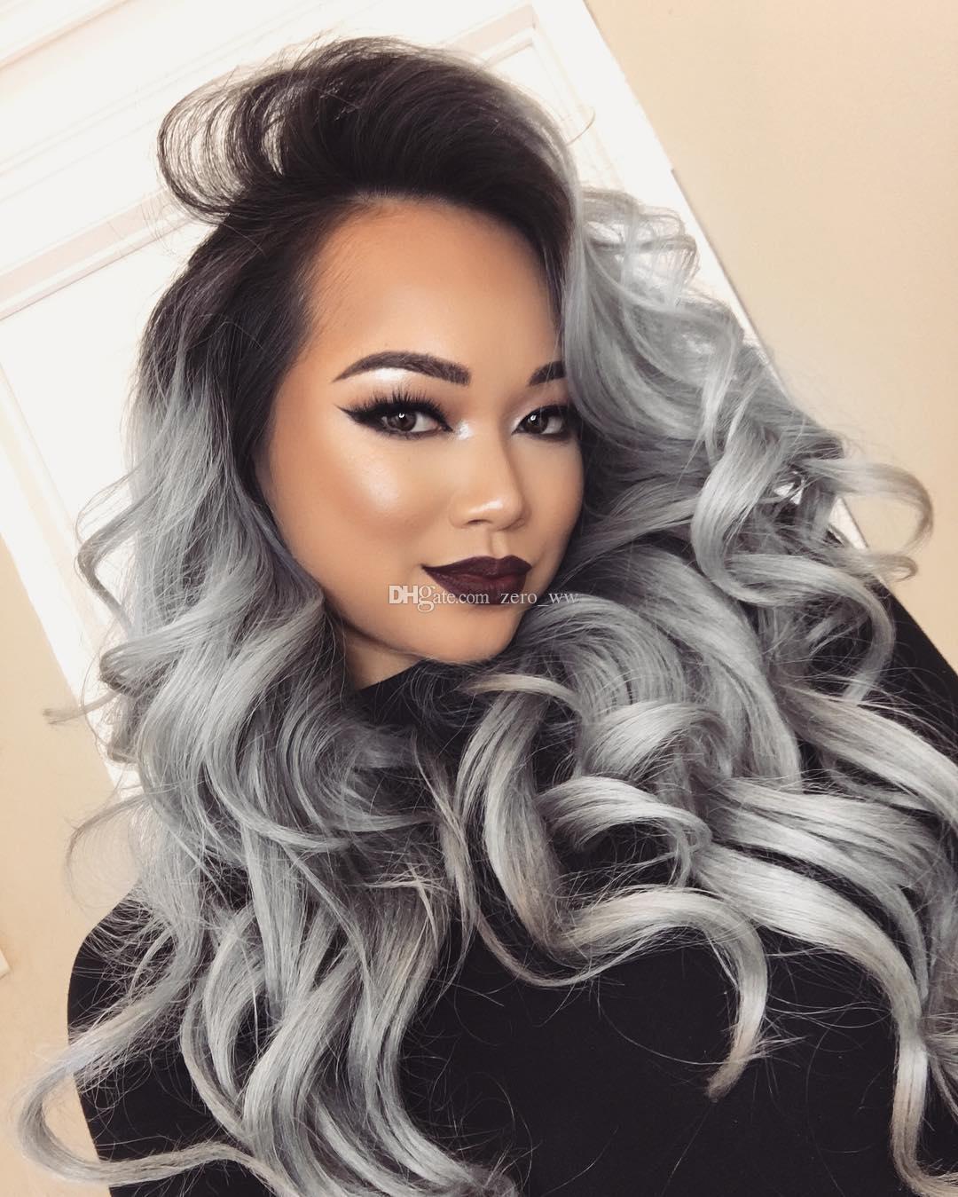 9A Grade Hair Wig Brazilian Glueless Full Lace Wigs #1b Grey Ombre Body Wave Human Hair Lace Front Wigs Black Women