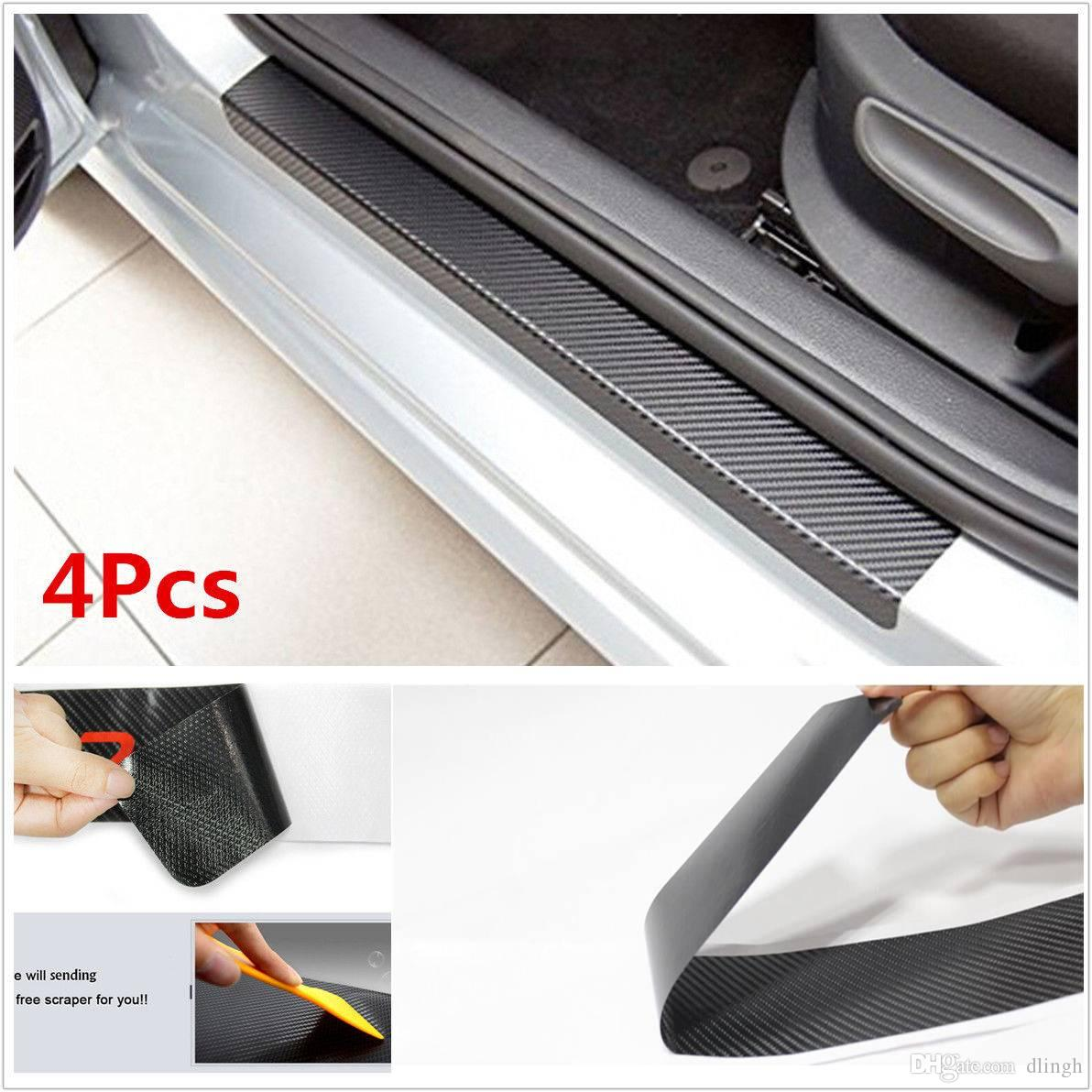 4X Car Door Sill Scuff Carbon Fiber Stickers Welcome Pedal Protect Accessories
