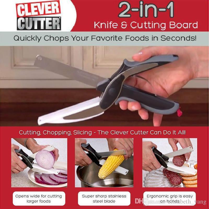 Cortador inteligente 2 en 1 cuchillo de cocina de corte de acero inoxidable Junta tijeras de la cocina de cortador de verduras carne