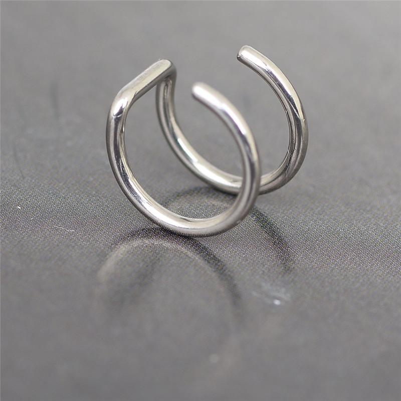 New Design Silver Color Ear Cuff for Unisex Helix Cartilage Ring Fake Clip On Stud Non-piercing Ring 7/8/10mm