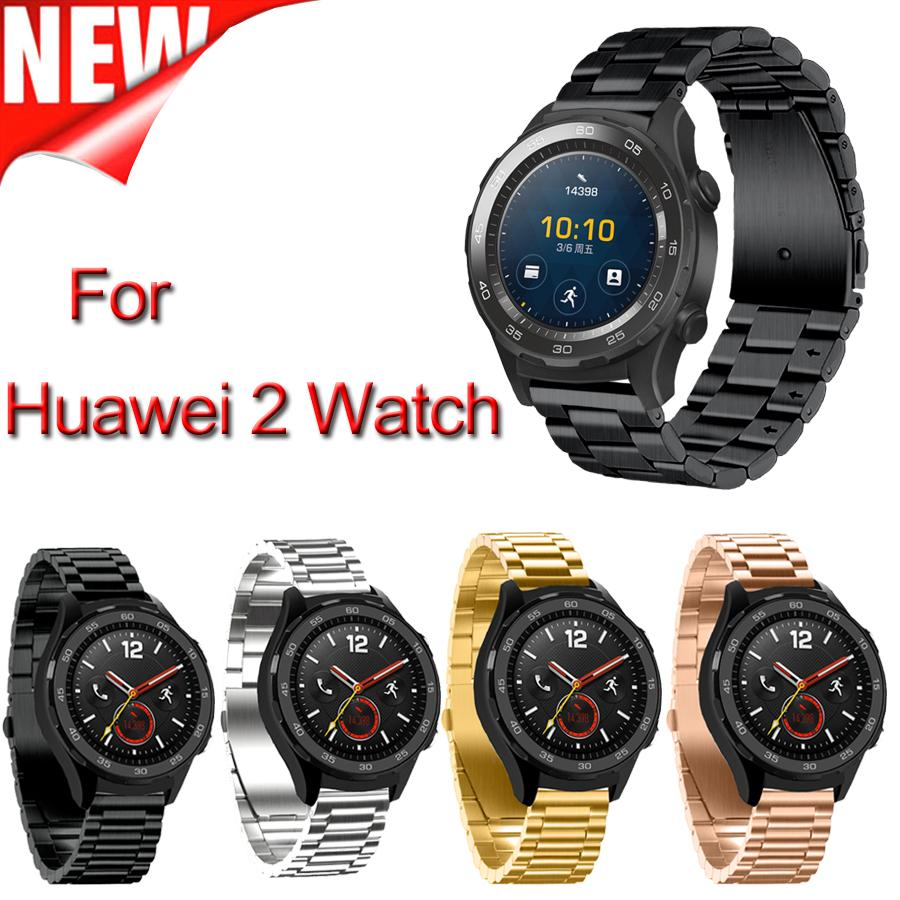 Width 20mm New Product Three Links Stainless Steel Smart Watchband Huawei Watch With Leather Bracelet For 2 Band Metal Classic Buckle 22mm Alligator