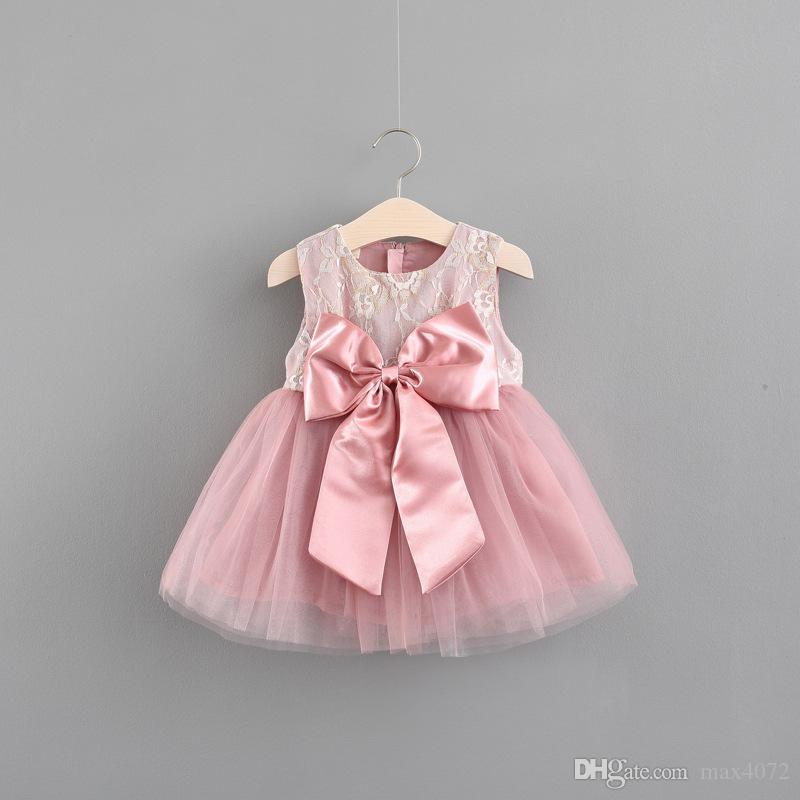 89cd8219c 2019 Cute Baby Girl Dress Solid Bowtie Solid Elegant Lace Princess Dress  For 9 36month Girls Newborn Infant Girl Lace Dresses Clothes From Max4072,  ...