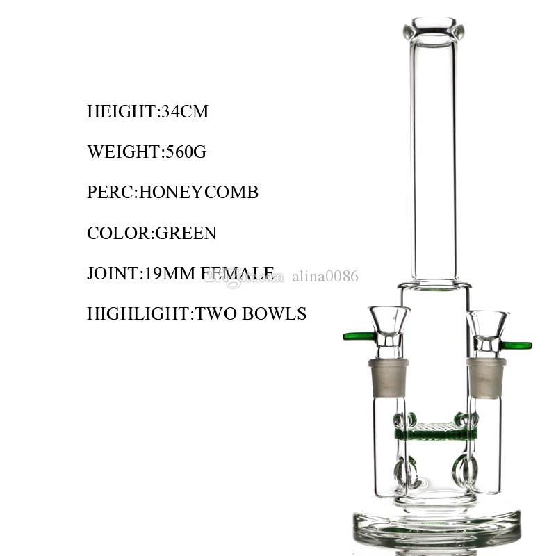 Twin joints glass bong water pipe honeycomb percolator bongs glass bubbler double 14mm joint glass dil rigs smoking pipes