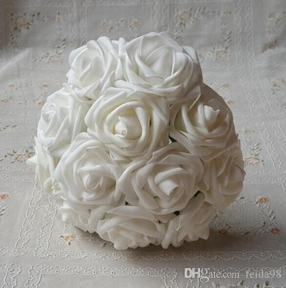 Simulation flower white foam roses bridal bouquet artificial wedding simulation flower white foam roses bridal bouquet artificial wedding christams decor centerpiece flowers pe rose simulation single branch rose holding mightylinksfo Images