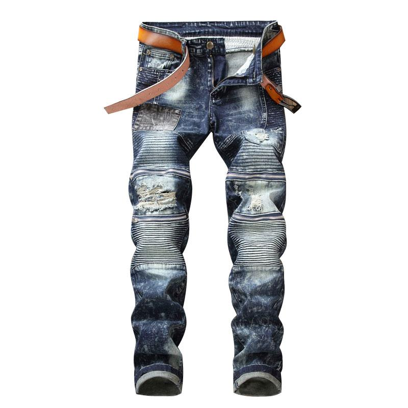 Fake Zippers Patchwork Denim Biker Jeans Men's Skinny 2018 New Runway Distressed Slim Vintage Jeans Hiphop Washed Trousers