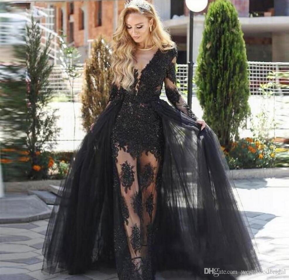 2019 Prom dress Ball Gown Prom Dresses Long Evening Dresses Evening Gowns Black Lace Tulle Applique Long Sleeve Overskirt Custom Made