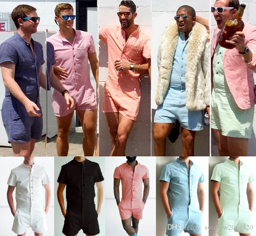 2018 Fashion Men's Stretch Jumpsuit Male Short Sleeve Rompers Short Cargo Pants Summer Single Breasted Tops Trousers S-XL