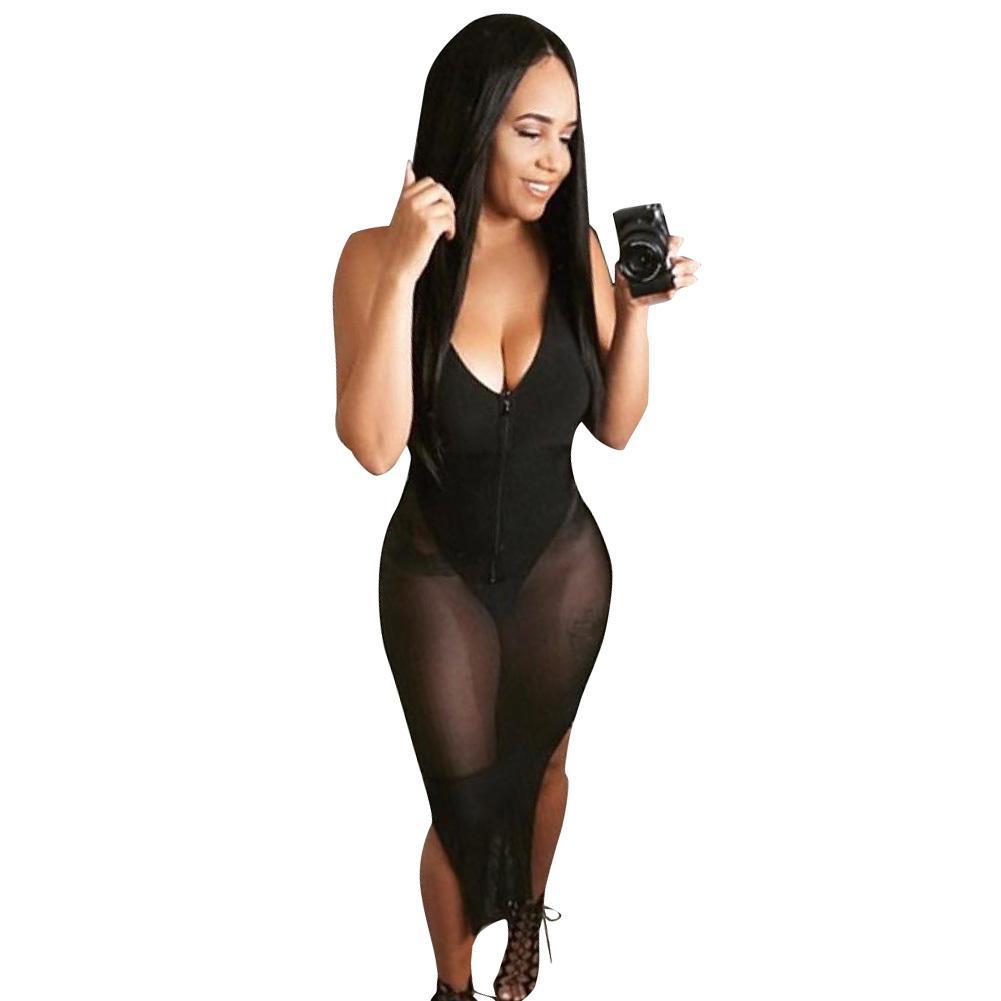 4bf6b21987 Compre Club De La Mujer Vestidos De Fiesta De Malla Transparente De Encaje  Body Transparente V Sin Mangas De La Correa De Espagueti De La Cremallera  Maxi ...
