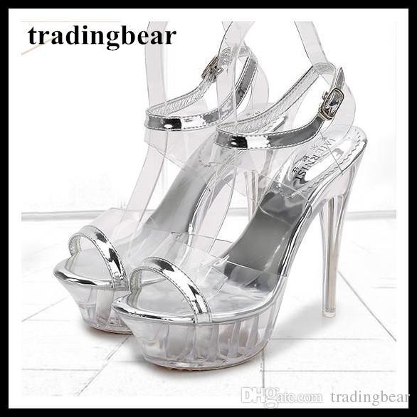 1009faf0c6f6 14cm Silver crystal PVC transparent wedding shoes unisex pole dancing shoes  men high heels plus size 35 to 40 41 42 43