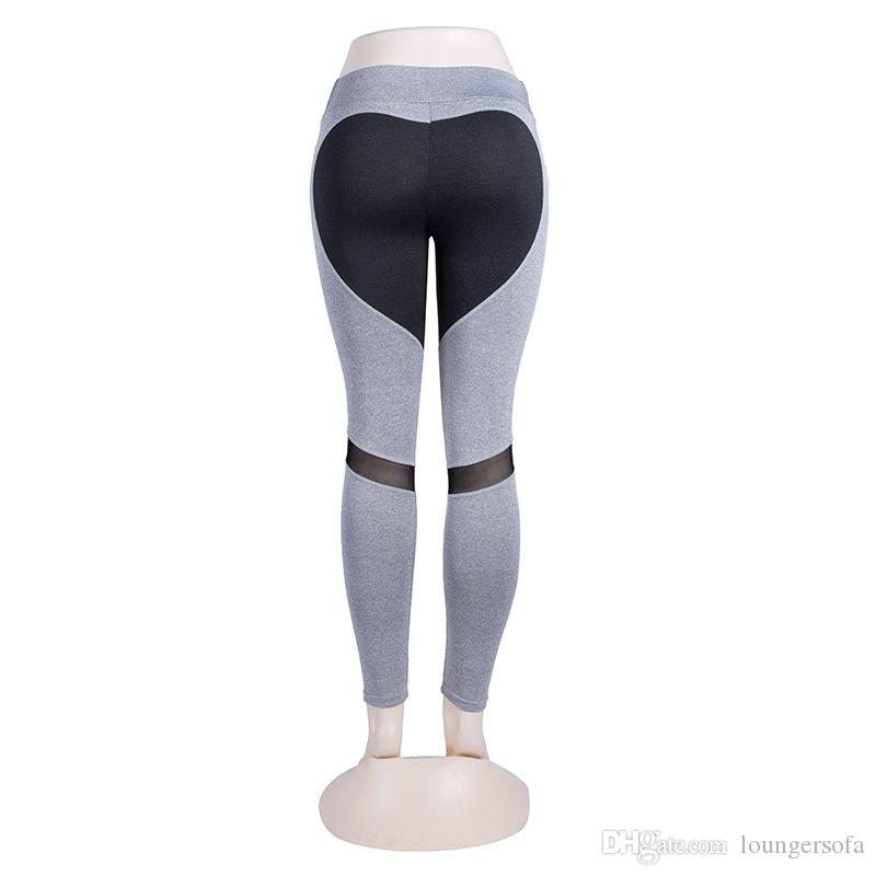 9e6816f4e6ec9 2019 Lady Net Yarn Push Up Leggings Women Fashion Splicing Repair The Body  Designer Sexy Heart Yoga Pants High Elasticity Sport Clothing 16lx Ww From  ...