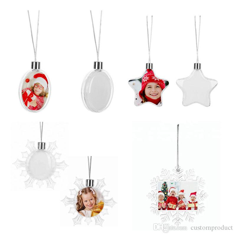 sublimation christmas ornaments snowflake star round ball shape  personalized custom consumables supplies heart transfer printing material