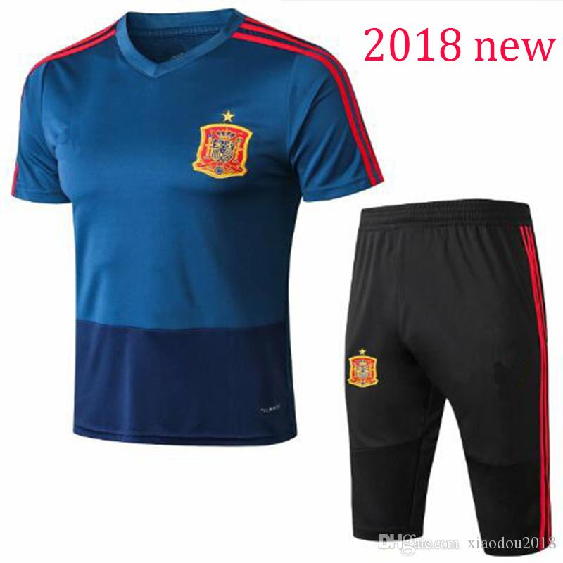 2019 2018 World Cup Spain Soccer Jersey Training Suit Short Sleeve 3 4  Pants 18 19 ASENSIO MORATA ISCO A.INIESTA Football Shirt Adult Tracksuit  From ... 3cec95aa8