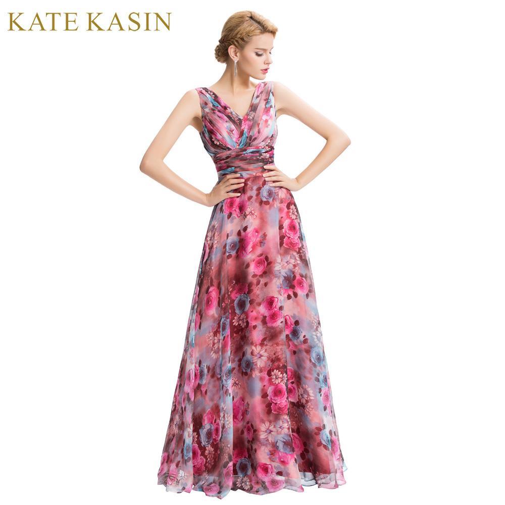 Floral Printed One Shoulder Long Formal Dresses