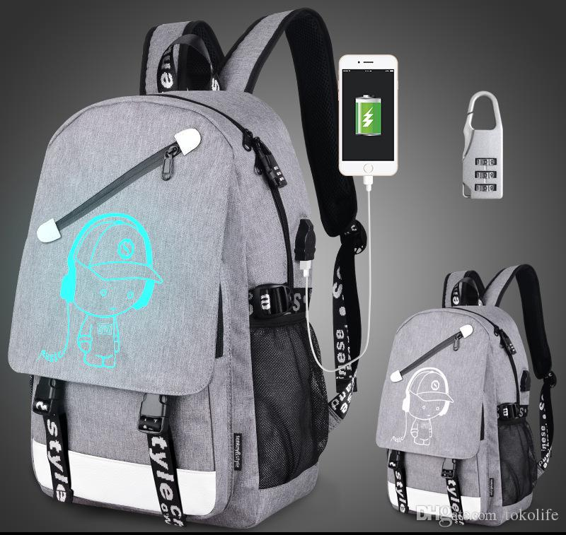 44c50c591e7 School Backpack Student Luminous Animation USB Charge Changeover Joint School  Bags For Teenager Computer Bag Glow In The Dark Backpacks School Rolling ...