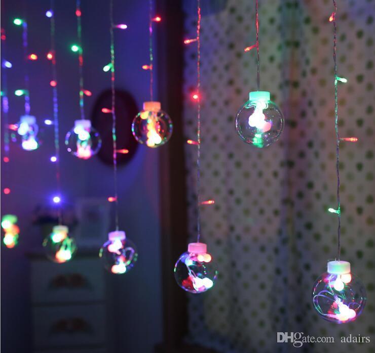 سلسلة الصمام الاضواء الساطعة ستائر خلفية الجليد lightring القلب رغبة الكرة عيد الميلاد زخرفة اقتراح رومانسية فانوس صغير