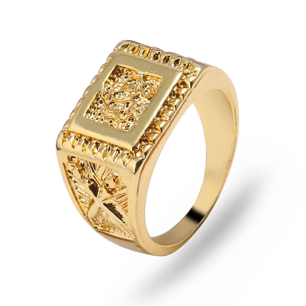 Best Gift 18K Gold Plated Men Jewelry Arab Rings Gold Plated Brand Middle East Jewelry Quran Ring For Men Christmas Gifts