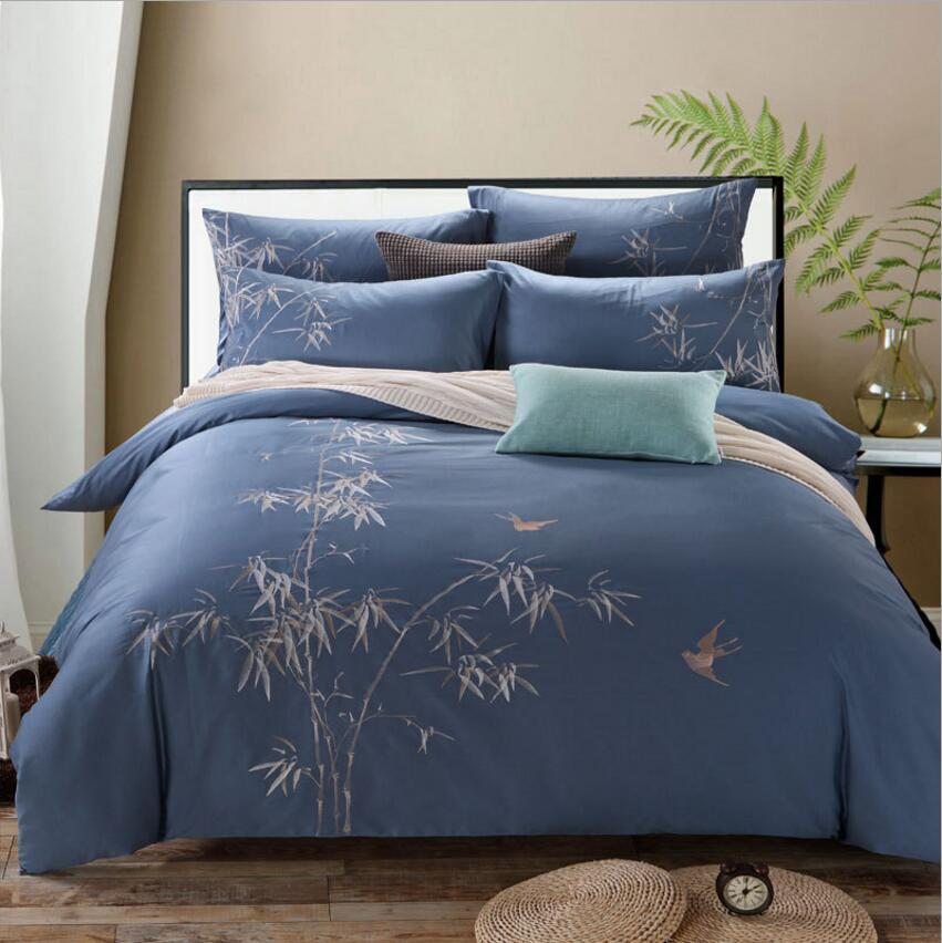 100 Coon Bamboo Embroidered Design Bedding Set King Queen Size Blue