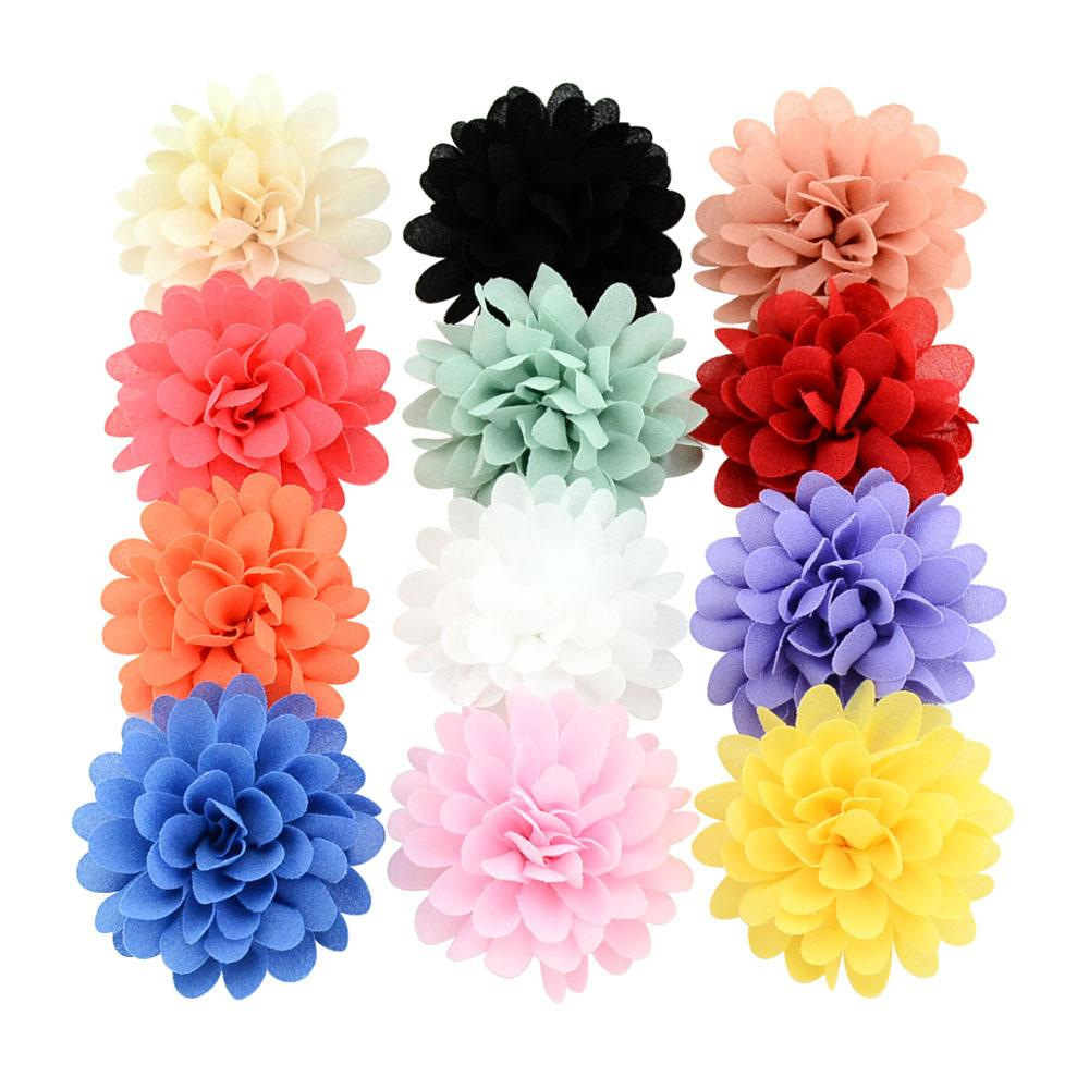 Boutique Kids Headband Lotus Hair Clip Handmade Satin Flower For