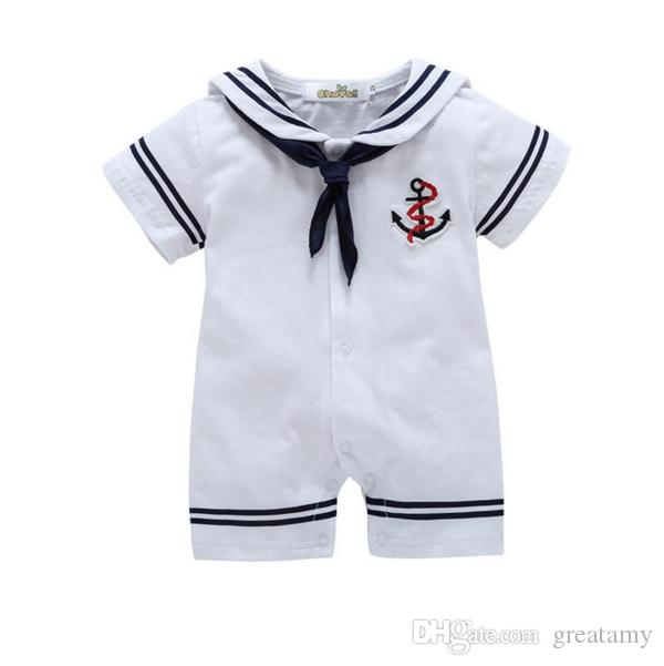 2dd1a6bb6 Compre Bebê Recém Nascido Menino Roupas De Algodão Romper Do Bebê Recém  Nascido One Piece Roupas Meninos Roupas Macacão Terno De Marinheiro Do Bebê  De ...