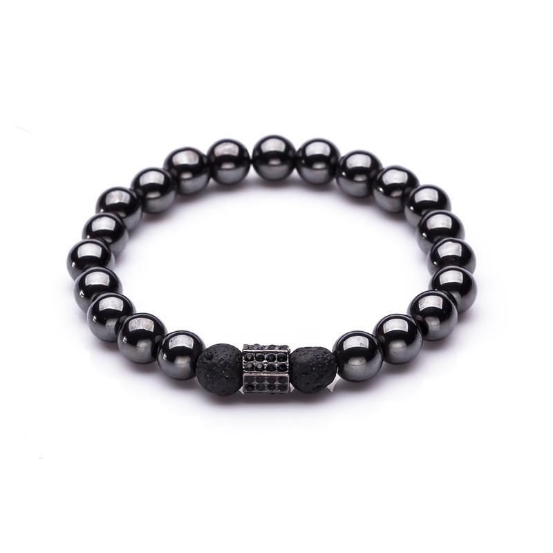 8mm Black Hematite And Volcanic Stone Beaded Men Bracelet For Women Crown Male Hand Chain Bracelets Lovers Fashion Jewelry