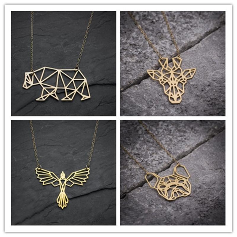 Wholesale Yiustar Origami Bear Chain Pendant Necklace Women Simple