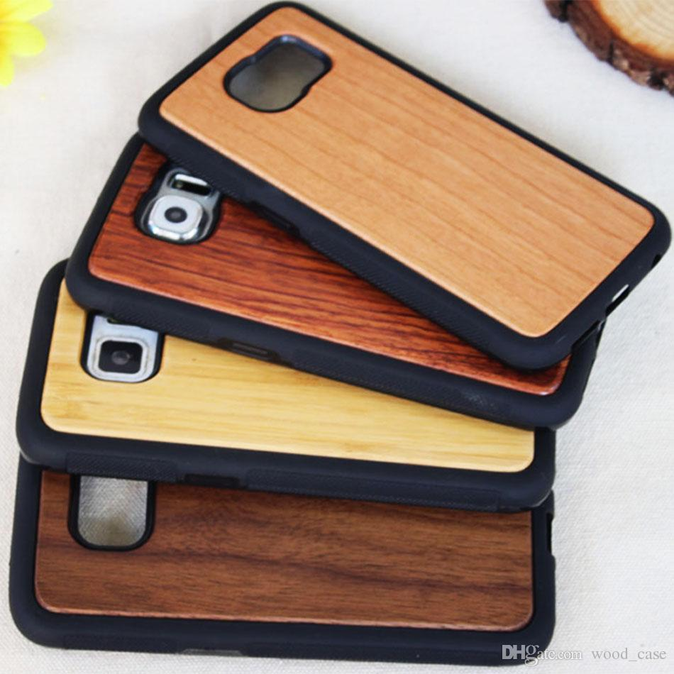 Wholesale Real Wood Phone Case For Samsung Galaxy S7 S6 Edge S9 S8 Plus Natural Bamboo Wooden Tpu Hard Cover For Iphone X 10 7 8 6s Plus 5s