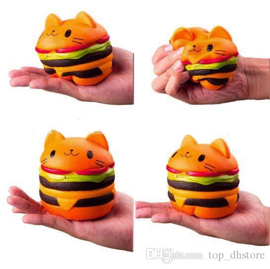 Jumbo Hamburger Katze Squishy Spielzeug Kawaii Charms Squishies Burger Langsam steigende Squeeze Soft duftenden Phone Straps Sammlung Simulation STS217