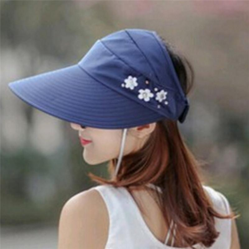 46d23909bc0 Women Summer Sun Hats Pearl Packable Sun Visor Hat With Big Heads Wide Brim  Beach Hat UV Protection Female Cap Scrub Hats Mens Hat From Arrowhead