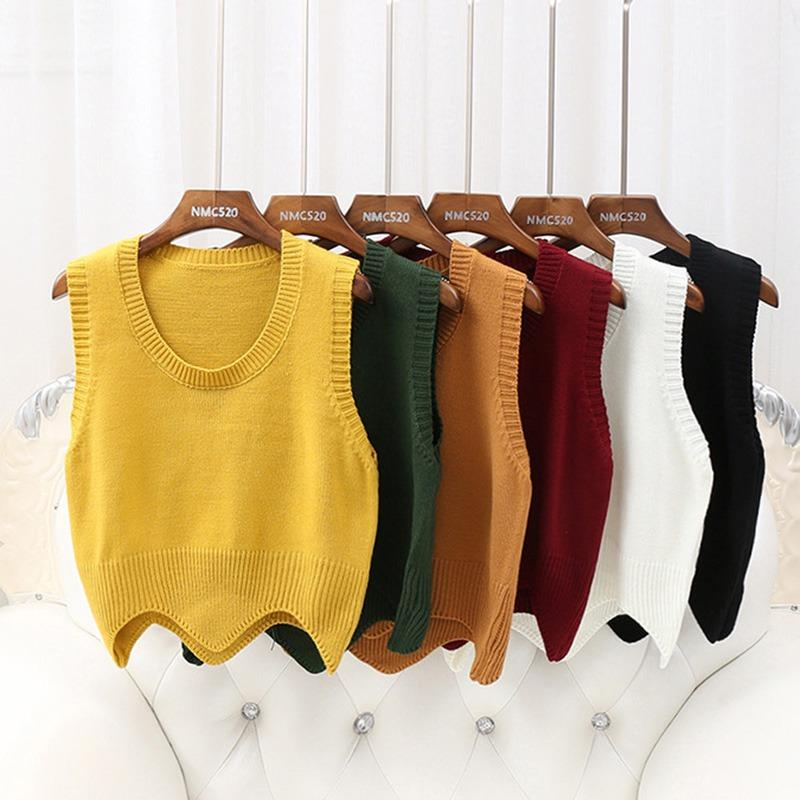 2019 Fashion Womens Sweater Vest Solid Colors Knit O Neck
